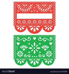 Mexican Papel Picado vector template design set, cutout paper decorations flowers and geometric shapes, two party banners Traditional green and orange banner form Mexico, Blank text floral composition Mexican Party, Party Banners, Fiesta Party, Paper Decorations, Geometric Shapes, Floral Design, Design Set, Paper Crafts, Templates
