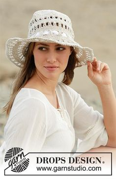 Crochet hat with lace pattern and ribbon in Drops Bomull-Lin or Paris  Get this free pattern  http://ift.tt/2qbzvcf