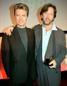 David Bowie & Eric Clapton, Q Awards, London, 1995 Eric Clapton, Freddie Mercury, David Jones, David Bowie Born, John Mayall, Best Guitar Players, The Yardbirds, Believe, The Thin White Duke