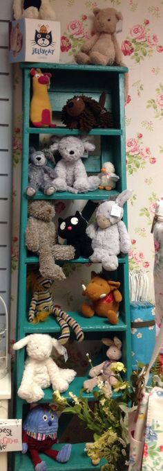 Look what's climbed up our ladder... Lots of lovely jelly cat toys :) display ideas.. X