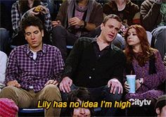 Lily has no idea I'm high. (how i met your mother,marshall erikson,jason segel,josh radnor,alyson hannigan,himym,lily alrdin,ted mosby,funny,high,gif,tv,fail)