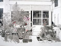 Yukiko Suto, Potted Plants and House - Tsukishima, 2008 (oil, pencil and plaster on canvas)