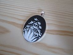 Handmade Black and White Oval Pendant/Necklace in Polymer Clay Little Flowers