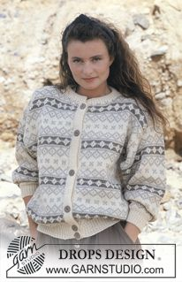 Jacket with classic pattern borders pattern by DROPS design - Stricken Anleitungen Knitting Patterns Free, Free Knitting, Crochet Patterns, Drops Design, Knit Jacket, Sweater Jacket, Border Pattern, Free Pattern, Magazine Drops