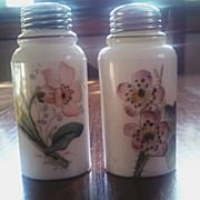 Antique Victorian art glass salt pepper shaker set