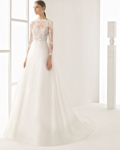 Rosa Clara Rosa Clara Nilo Lace Long Sleeve A-Line Gown (In Stores Only) available at Informal Wedding Dresses, Popular Wedding Dresses, Long Wedding Dresses, Long Sleeve Wedding, Wedding Dress Sleeves, Wedding Suits, Bridal Dresses, Wedding Gowns, Lace Dress