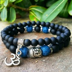 Mens Buddha, Om Bracelet Set, Matt Black Onyx, Blue Lava Stone, Men's Buddha Bracelet, Om Bracelet, Mala, Yoga, Boho Jewelry, Prayer Beads