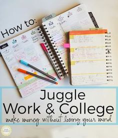 Juggling Work and College: Tips for Success of college students work while in college. Here are some fantastic top tips on how to juggle work and college to help you make money without losing your mind! – College Scholarships Tips College Success, College Hacks, College Life, College Binder, College Schedule, Study Schedule, College Study Tips, Hunter College, College School Supplies