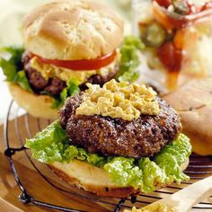 Surf and Turf Burgers with Spicy Caramelized Onion        For a fresh twist on beef burgers, add ground shrimp, dill, sea salt, and pepper to the beef before grilling. An easy-to-make spicy caramelized mayo adds the perfect finishing touch.