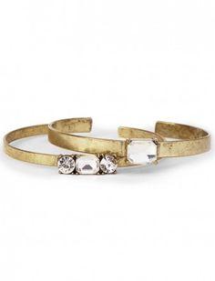 Crystal & Metal Thin Bracelet Set