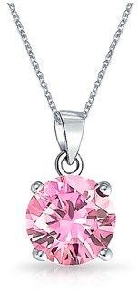 Bling Jewelry Simulated Pink Topaz Cz Solitare Pendant Rhodium Plating Necklace 18 Inches.