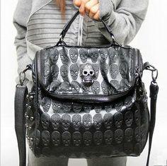 Cool Skull Leather Handbag Shoulder Bag