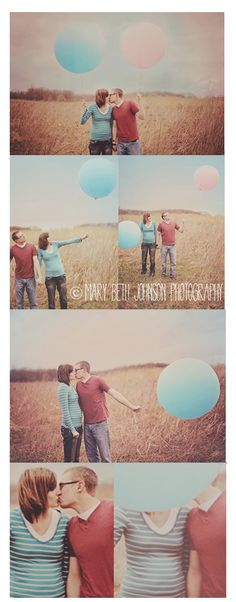 cute gender reveal. he has a blue balloon i have a pink one. hold onto the balloon color that it is and let what we don't have go