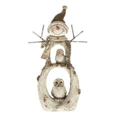 Christmas Window Decoration Snowman Owls Ornament Winter Wooden LOOK Mantelpiece for sale online