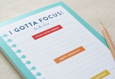 Notepad  I Gotta Focus  To Do List by QuirkyPaperCo on Etsy, $12.00