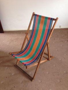Original Vintage Deck Chair With Stripe Fabric Garden, Camping, Seaside,