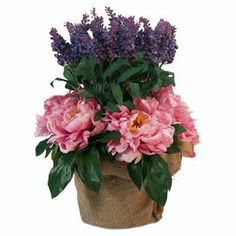 """Add a touch of natural style to your decor with this lovely silk peony and lavender arrangement, nestled in a burlap-covered clay pot.   Product: Faux floral arrangementConstruction Material: Silk, plastic, burlap and clayColor: Pink, purple, green and tanFeatures: Includes faux peonies and lavenderDimensions: 16"""" H x 12"""" Diameter Note: For indoor use only"""