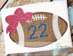 Football Bow 2 Applique - 4 Sizes!   What's New   Machine Embroidery Designs   SWAKembroidery.com Creative Appliques