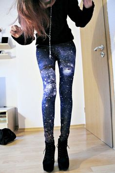 cute galaxy tights leggings style indie scene punk