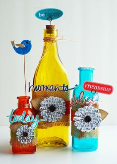 DIY Upcycled Glass Bottles.  Perfect for Summer!