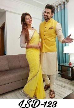 Shop Divyanka Tripathi Yellow Saree LSD 123 Replica Online with the best price Fashion House for Brides. Flaunt latest styled cuts and look with these Indian Dresses, Give yourself the stylish look for a Wedding in Season Have a look now. Wedding Dresses Men Indian, Wedding Dress Men, Indian Dresses, Indian Outfits, Wedding Kurta For Men, Wedding Couples, Mens Indian Wear, Indian Groom Wear, Indian Men Fashion