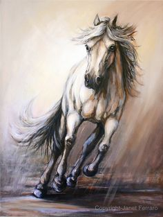Horse painting on canvas of 'Gallop ll' size 20 by FerraroFineArt