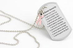 What Cancer Cannot Do Dog Tag with Ribbon Charm with the white ribbon for lung cancer