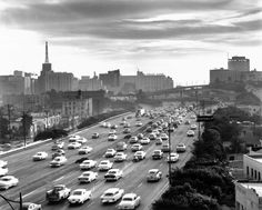 Circa 1960 view, looking south, of the Harbor (110) Freeway in downtown Los Angeles.