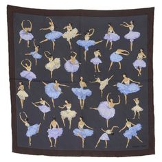 HERMES Vintage 1961 Grey 'La Danse' Silk Pocket Scarf 42 cm | From a collection of rare vintage neckcloths at https://www.1stdibs.com/fashion/accessories/neckcloths/