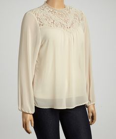 Loving this Cream Lace Mock Neck Top - Plus on #zulily! #zulilyfinds
