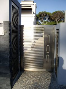 Detail of stainless steel gate.
