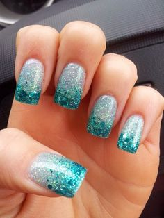 Acrylic Nails Blue Glitter Sparkly Rockstar