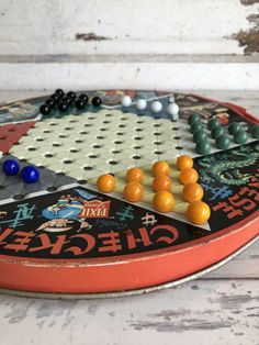 Vintage Chinese Checker Board - Pixie Game by Steven - Tin Litho Plus Marbles China Platter, Checker Board, Vintage Hotels, Vintage Winter, Marbles, Vintage Children, Rustic Style, Board Games, Pixie
