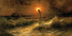 jesus painting walking on water yellow | Christ Walking on Water - Julius Von Klever