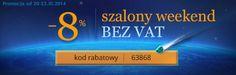 Nagradzamy zakupy w Alesoczewki.com Szalony Weekend bez VAT!  REGULAMIN PROMOCJI  Niniejsza promocja obowiązuje wszystkie zamówienia złożone od 20 LISTOPADA 2014 od godziny 12:00 do 23 LISTOPADA 2014 do 23:59 w sklepie Alesoczewki.com. Przy zakupie dowolnego produktu w naszym sklepie otrzymujesz 8% rabatu.