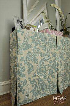 No sew table skirt. This idea could be used in covering old furniture that isn't practical to repair.