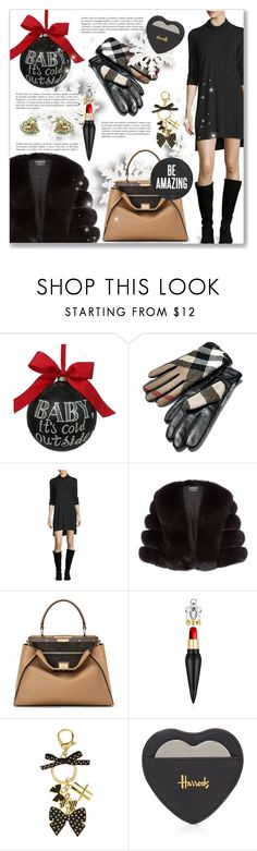 """""""Baby It's Cold Outside!"""" by dressedbyrose ❤ liked on Polyvore featuring Sage & Co., Burberry, Eileen Fisher, Harrods, Fendi, Christian Louboutin and Vivienne Westwood"""