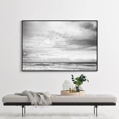 Monochrome Seascape Wall Art Print, Black and White Photography Wall Art Print, Ocean Print, Beach Print Wall Art, Bird Print Wall Art South African Decor, South African Design, Nature Prints, Bird Prints, Wall Art Prints, Black And White Wall Art, Black White, Beach Print, Print Print