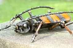 Metal sculpture  - Bombardier Beetle - unique metal art decor - home decor