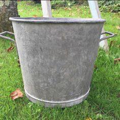 Huge French Vintage Zinc Bucket, perfect for the Christmas Tree!