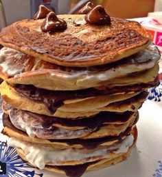 S'mores Protein Pancakes! Holy cow yes Under 10g Carbs and Over 25g Protein for this whole stack!  Click the picture to see the recipe!