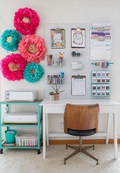 31 Trendy Craft Room Storage Pegboard Home Office Home Office Storage, Home Office Organization, Craft Room Storage, Home Office Space, Home Office Decor, Organization Ideas, Office Ideas, Office Spaces, Work Spaces