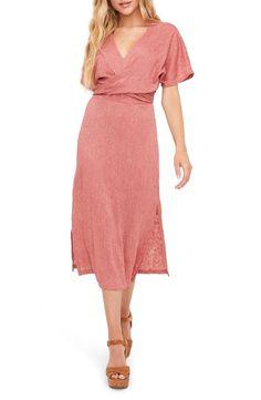 All in Favor Phoebe V-Neck Midi Dress | Nordstrom Midi Dress Outfit, V Neck Midi Dress, Pink Midi Dress, Pink Dress Casual, Winter Dress Outfits, Casual Dress Outfits, Fall Dresses, Dusty Pink Dresses, Dusty Rose Dress