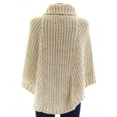 Poncho laine alpaga grosse maille hiver beige ELODIE Knit Cowl, Knitted Poncho, Pull Poncho, Poncho With Sleeves, Crochet Poncho Patterns, Knit Jacket, Cardigans For Women, Pulls, Amazon Fr