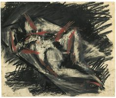 Frank Auerbach (British, b. Reclining Nude, Charcoal and oil pastel, x 56 cm. Frank Auerbach, Self Portrait Art, Collage Drawing, Charcoal Art, Sad Art, Happy Paintings, A Level Art, Famous Art, Life Drawing