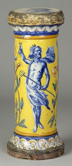 Early Italian Majolica Pedestal w/Neptune