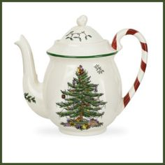 Spode Christmas Tree Candy Cane Teapot One Teapot with Candy Cane Handle Earthenware Christmas Tree on light cream body with green band Dishwasher safe; Microwave safe Mix and Match with Spode Christmas Tree Grove pattern