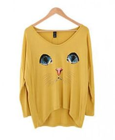 Oversize Cat Face Print T-shirt, lol Liza would love this XD