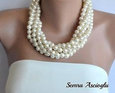 Chunky Layered Ivory Pearl Necklace brides bridesmaid special occasion on Etsy, $58.00