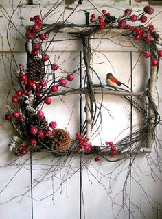 Rustic Christmas window wreath with berries and bird. (old windows from rental house) Noel Christmas, Rustic Christmas, Christmas Projects, Winter Christmas, Holiday Crafts, Outdoor Christmas, Natural Christmas Decorations, Christmas Ornament, Christmas Images